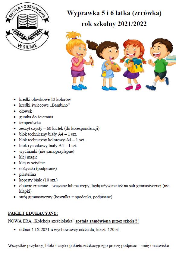 WYPRAWKA do klasy pierwszej szkoły podstawowej oraz dla 5 i 6-latków na rok szkolny 2021/2022